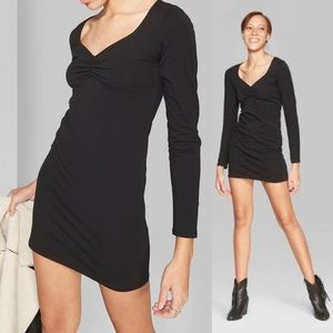 Wild Fable Ruched Long Sleeve V-Neck Dress